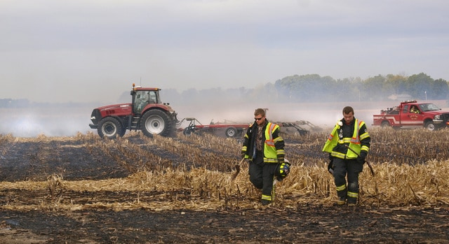 Dave Fornell for the Troy Daily News The Troy Fire Department was dispatched to what was called a small grass fire, around 2:30 Saturday afternoon near Fenner and Wilson Roads in Concord Township. On arrival, they found that a stiff wind was spreading the fire through a large field of cut corn, pushing it toward an unharvested bean field. Mutual aid was summoned from Covington, Elizabeth Township, Pleasant Hill, Laura, West Milton and Tipp City, which supplied additional grass trucks and tankers.