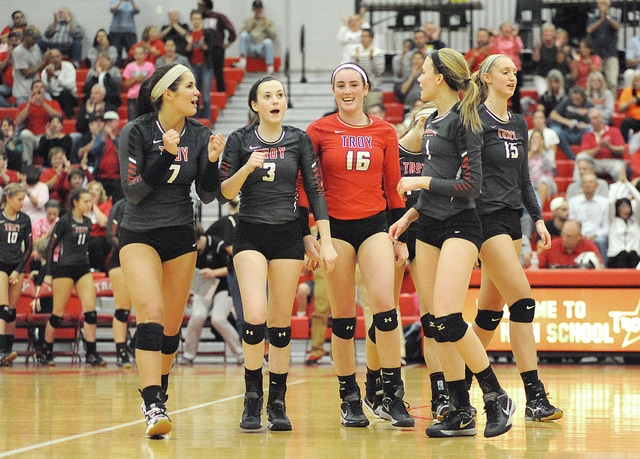Anthony Weber/Troy Daily News file Troy's Lauren Freed (7) celebrates with her teammates after a point in a GWOC Tournament game at Troy. Freed was named the District 9 Player of the Year in Division I.