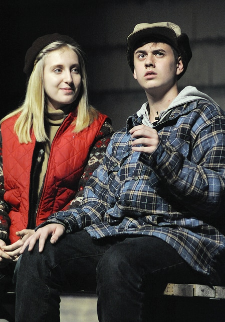 """Anthony Weber   Troy Daily News Melanie Dodson portrays Marci while Jackson Hottle portrays Phil in a Tippecanoe High School production of """"Almost, Maine,"""" directed by Jim Sagona this weekend at the school."""