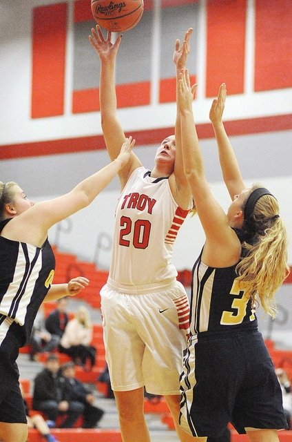 Anthony Weber/Troy Daily News Troy's Kayla Niswonger puts up a shot against Oakwood Tuesday at the Trojan Activities Center.