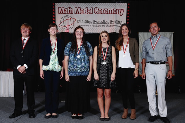 Provided photo Miami County high school students who received Honda/OSU Partnership Math Medal Awards are (from left) Jared Sherrick, Troy; Sarah Motz, Milton-Union; Haylee Pence, Covington; Kelly Moore, Bradford; Maria Evers, Newton; and Timothy Wenrick, Piqua. Not pictured: Chase Heck, Bethel; Rebekah Landfair, Troy Christian; and Trevor Toros, Tippecanoe.