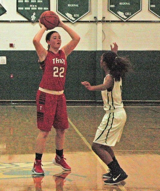 Josh Brown/Troy Daily News Troy's Alexis Otstot looks for a teammate to pass to Monday against Bethel.