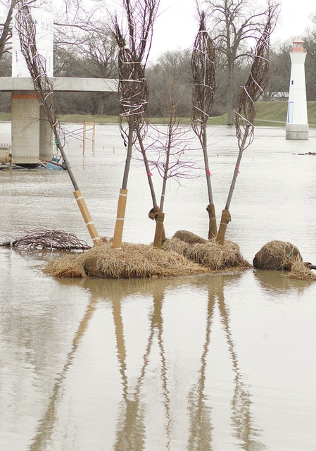 Anthony Weber | Troy Daily News Recent rain has caused the Great Miami River to drench the area of the levee and Treasure Island Park during the last several days. Rain is expected to come to an end which will allow work to continue on the project once the flooding has receded.
