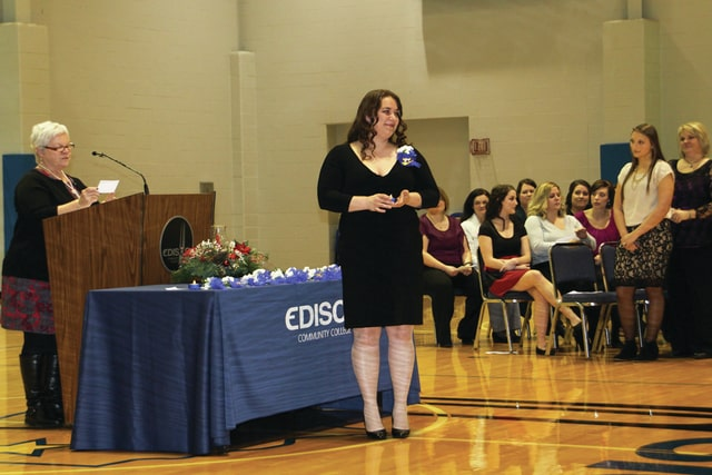 Provided photo Amanda Cayton of Piqua is pinned during Edison State's time-honored nursing pinning ceremony.