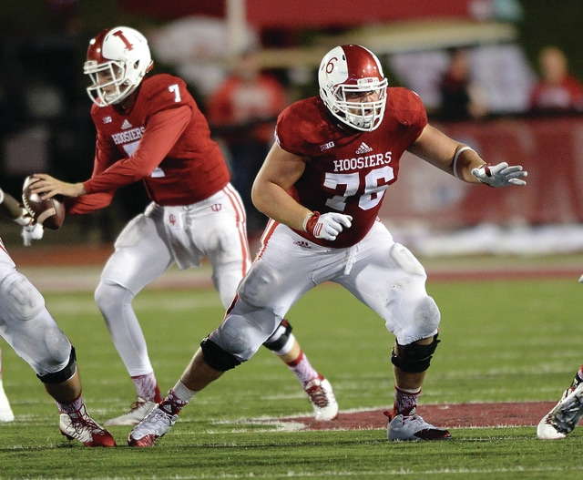 Mike Dickbernd| Indiana University Milton-Union graduate Wes Martin (76) and the Indiana University football team will take on Duke Dec. 23 in the Pinstripe Bowl. Martin is one of six Miami County graduates who will appear in bowl games this year.