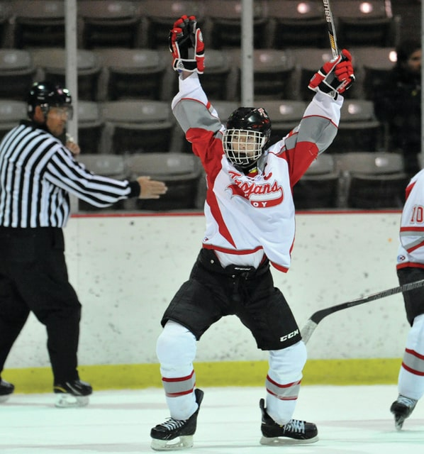 Photo courtesy Lee Woolery/Speedshot Photo Troy's A.J. Noll celebrates a goal Sunday night against Northern Kentucky. Noll broke the school record for points in a career in the Trojans' 5-3 loss.