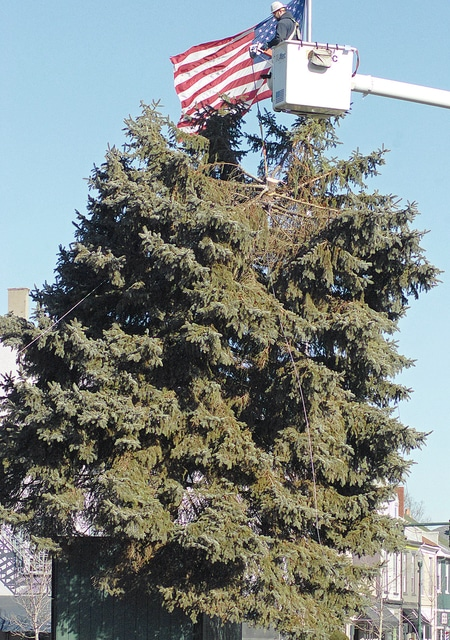 Anthony Weber | Troy Daily News After collecting lights and ornaments workers from the city of Troy and DP&L bring down the Christmas tree Thursday on the Public Square in downtown Troy. The 40-foot-tall blue spruce was donated from Roger Adams of Troy.