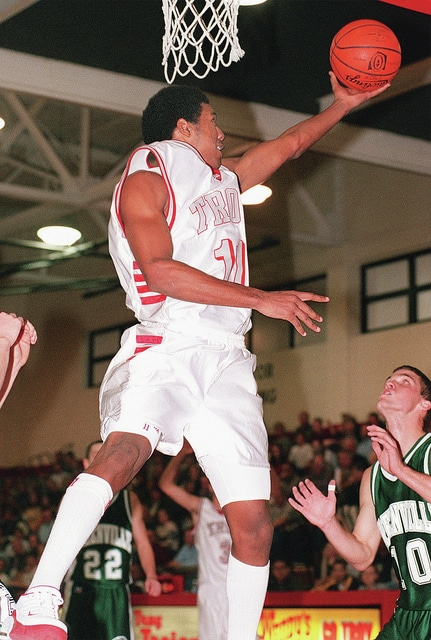 Rick Ramsey | Troy Daily News Former Troy basketball player Alejandro Carmona, shown here in this 2001 file photo, came to Troy under a cloud of controversey, but went on to have the greatest single season in school history.