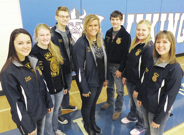 Anthony Weber | Troy Daily News Miami East High School FFA officers include Katie Bendickson, Kelsey Kirchner, Nathan Teeters, Emily Beal, Hunter Sharp, Katie Bodenmiller and Emma Linn (not pictured: Alyssa Westgerdes).