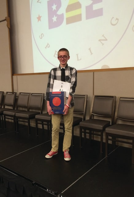 Provided photo Miami East Junior High eighth grader AJ Christian won the Dayton Area Collaborative Spelling Bee, held Feb. 24, at Sinclair Community College. His victory qualifies him to represent the Dayton area at the 2016 Scripps National Spelling Bee, which will take place May 22-27 in Washington, D.C.