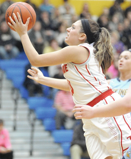 Anthony Weber/Troy Daily News Tippecanoe's Mikenna Varvel goes up for a shot Tuesday against River Valley at Springfield.