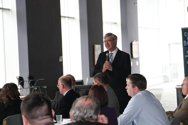 Chancellor John Carey of the Ohio Department of Higher Educations speaks at the roundtable discussion held at Edison State Community College on Thursday, commending Edison's use of career counseling and College Credit Plus programs.