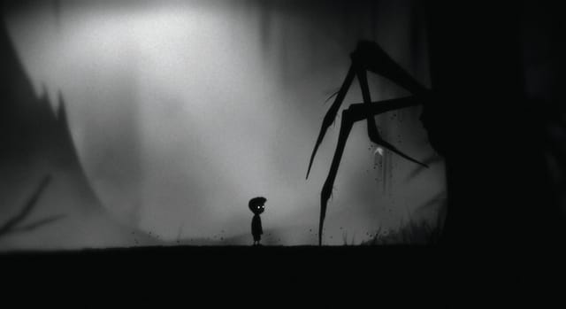 """Screenshot by Josh Brown via XBox Game DVR """"Limbo"""" might not be purely a horror game. But look at that spider and tell me that isn't terrifying."""
