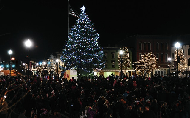 Mike Ullery | Civitas Media The square in downtown Troy was crowded on Friday as people turned out to watch the Grand Illumination event with the lighting of the Christmas Tree and all of the downtown.