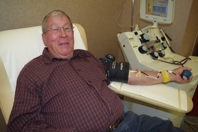 Provided photo Tipp City's Howard Guscar made his milestone 235th lifetime donation on the eve of Thanksgiving, Nov. 23, at the Dayton CBC.