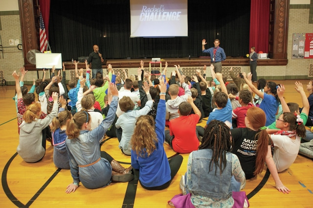 Provided photo Students at Van Cleve School in Troy participate in a Rachel's Challenge assembly.