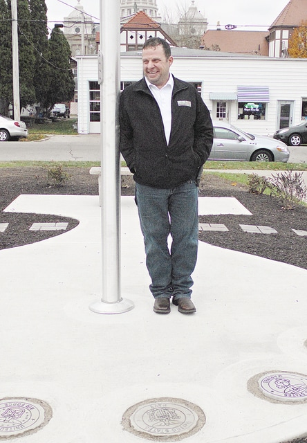 Anthony Weber | Troy Daily News Troy High School graduate Jeff Schlarman's recently completed the construction of a Veterans Memorial on the north side of the library in Troy.