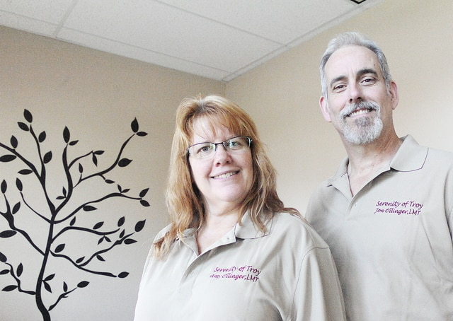Anthony Weber | Troy Daily News Serenity of Troy owners Amy and Jon Ollinger stand inside their massage therapy clinic recently. The Troy location opened its doors in early November and is located at 1206 Archer Drive.