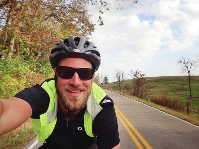 Provided photo Jordan Hart of Troy rides his bicycle in Kentucky while following the Underground Railroad route.