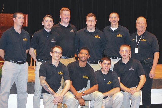 Provided photo Edison State's 33rd Police Officer Academy students were honored during a ceremony on Dec. 12. Front row, left to right: Zachery Daniels of Piqua, Darnell Pate Jr. of Trotwood, Christopher King of Sidney, and Dustin Freeman of Troy. Back row, left to right: Travis Frock of New Bremen, Austin Kyzer of Troy, Nathan Wise of Covington, Joliffe Huber of Troy, Jordan Price of Troy, and Joseph Mahan, Basic Peace Officer Academy coordinator. Not pictured: Shane Hill of Gettysburg.