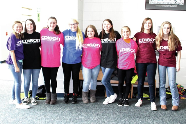 "Provided photo A group of Piqua Junior High students pose for a photo following Edison State Community College's daylong ""We Are IT!"" event that attracted over 200 area students."