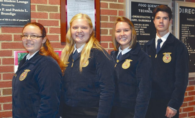 Provided photo Members of the Miami East-MVCTC FFA Chapter's Food Science and Technology Team were left to right, Emily Thimmes, Katie Bodenmiller, Emma Linn, and Weston Hodge.