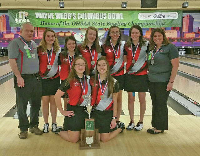 Provided photo The Troy girls bowling team poses with its state runner-up trophy after finishing second at the Division I state bowling tournament Friday at Wayne Webb's Columbus Bowl.