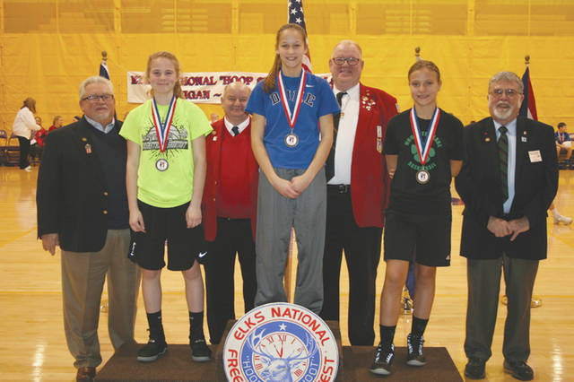 Provided photo Pictured left to right, Indiana State President Tony Vester; second place, Preslee Michael; Area 4 Hoop Shoot Director Don Fassnacht; first place, Lindi Snodgrass; Ohio State President Harold Kehler; third place, Mariah Thompson; and Michigan State President Pete Gadzinski.