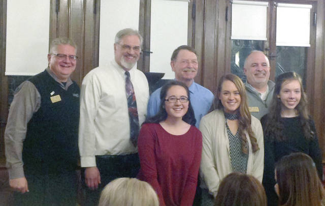 provided photo The participants in the annual Rotary Four-Way Speech Contest. Front row, from left to right: Camryn Spencer (third place, THS sophomore); Kaitlyn Sherrick (secondplace, THS sophomore), Sarah Geer (winner, THS sophomore). Back row: John Haller (program chair), Michael Gegel (THS teacher), Judge Jeff Welbaum (Ohio 2nd District Court of Appeals), Mark Mabelitini (District Governor-elect for District 6670).