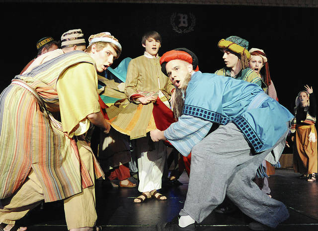 "Anthony Weber | Troy Daily News Bethel High School recently presented ""Joseph and the Amazing Technicolor Dreamcoat"" by Andrew Lloyd Webber. The musical which included Zachary Moore, center, portraying ""Joseph"" offered a show Thursday, Friday with two performances on Saturday."