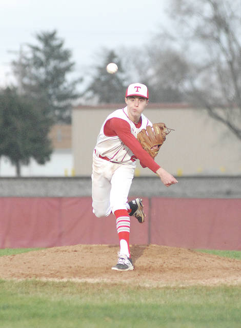 Anthony Weber/Troy Daily News Troy's Cole Brogan pitches Tuesday against Greenville.