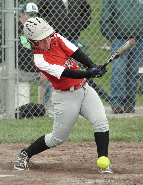 Anthony Weber/Troy Daily News Troy's Abby Innes hits an RBI grounder Tuesday against Greenville.