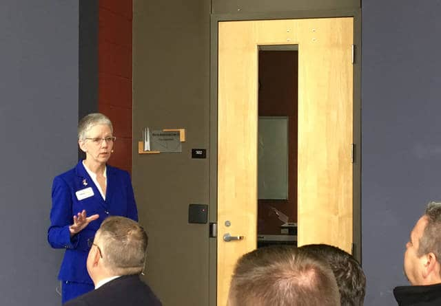Dr. Doreen Larson, president of Edison State Community College, speaks at the State of the College on Wednesday morning.