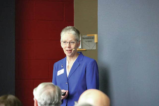 Courtesy of Andrea Francis | Edison Community College Dr. Doreen Larson, president of Edison State Community College, speaks at Edison's State of the College Wednesday morning at their Piqua campus.