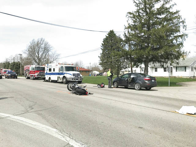 Mike Ullery | Daily Call A crash involving a motorcycle and a car occurred late this morning at U.S. Route 36 at Mulberry Grove-Rakestraw Road in Covington. At least two people are being removed by CareFlight. This story will be updated as more details become available.