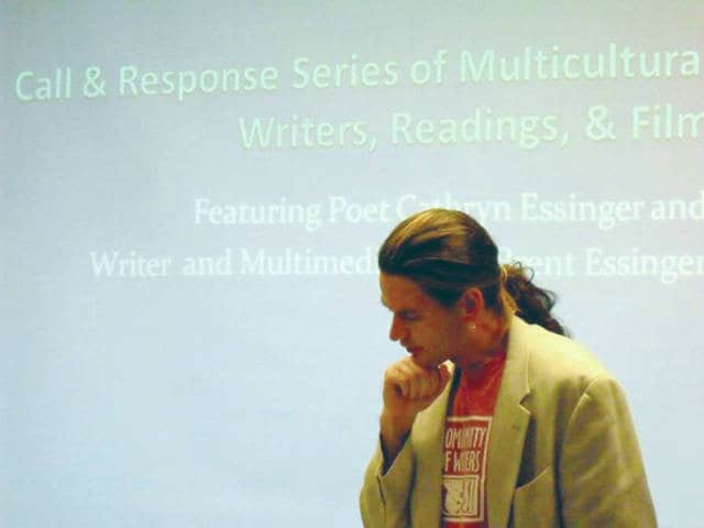 Provided photo David Essinger pauses in thought during a reading at Sincair Community College.