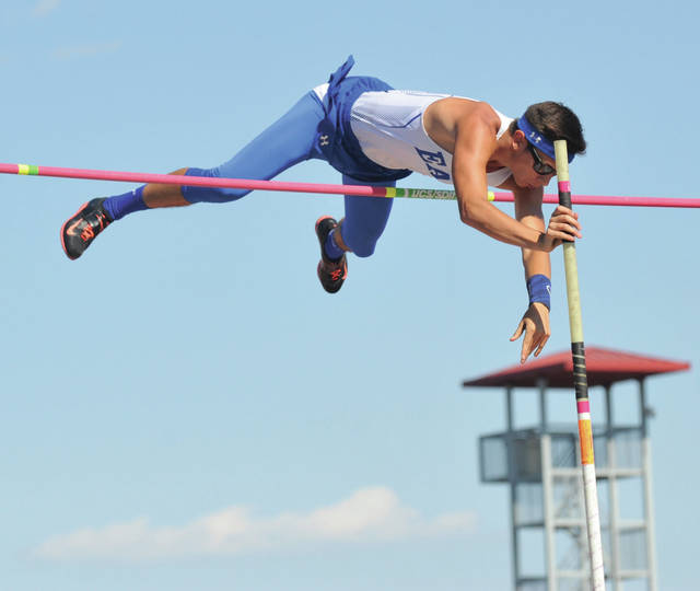 Josh Brown/Troy Daily News file Miami East's Blaine Brokschmidt clears the bar in the pole vault during last year's Division III state meet.