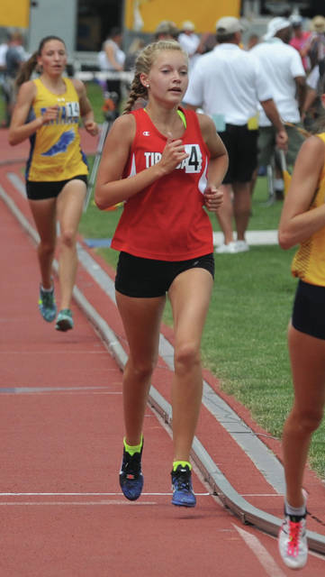 Josh Brown/Troy Daily News file Tippecanoe's Katie Taylor, seen here competing at the state outdoor track and field meet in June, finished second in the 1,600 at the state indoor track and field meet on March 3.