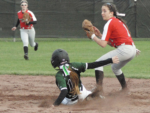 Anthony Weber/Troy Daily News file Troy second baseman Josie Rohlfs forces out a Greenville runner during a game last season.