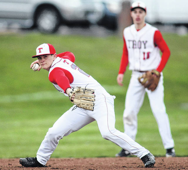 Photo Courtesy of Lee Woolery | Speedshot Photo Matt Bigley (left) and the Troy baseball team take on county rival Tippecanoe Monday and Tuesday in a key Greater Western Ohio Conference North Division series.