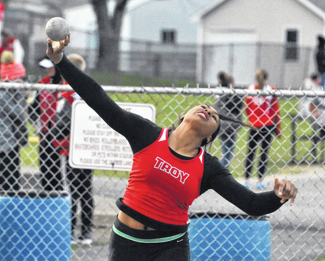 Josh Brown/Troy Daily News Troy's Lenea Browder broke her own school records in the shot put and discus during Tuesday's Miami County Championships at Tippecanoe Middle School.