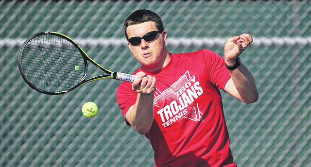 Photo courtesy Lee Woolery/Speedshot Photo Troy's John Wehrkamp hits a forehand Friday against Alter.