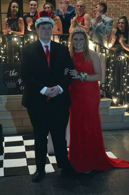 Photo by Skylar Nallen Josh Keechle and Brooke Klopfenstein were named king and queen of the 2018 Troy Prom on Saturday night at the Dayton Art Institute.