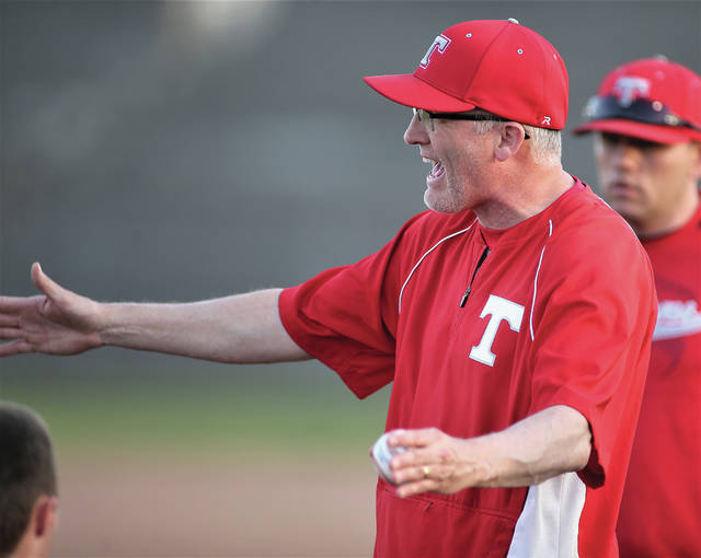 Photo Courtesy of Lee Woolery | Speedshot Photo Troy baseball coach Ty Welker addresses his team after his 201st career win, the most in school history.