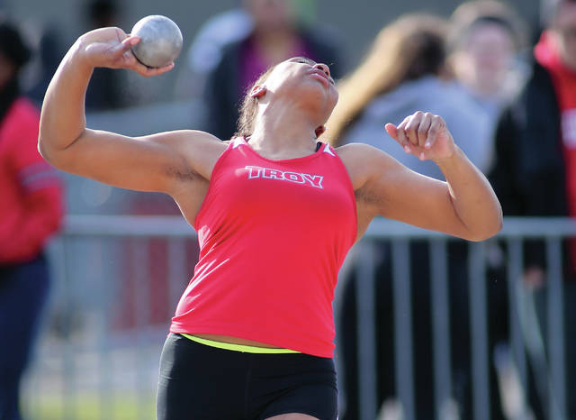 Photo Courtesy of Lee Woolery | Speeshot Photo Troy' sophomore Lenea Browder, shown here throwing the shot put at the Herb Hartman Invitational, currently is the top-ranked shot putter in the state of Ohio.