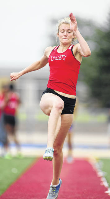 Photo courtesy Lee Woolery/Speedshot Photo Troy's Camryn Moeller won three district titles and placed second in a fourth event Friday at Alexander Stadium in Piqua.
