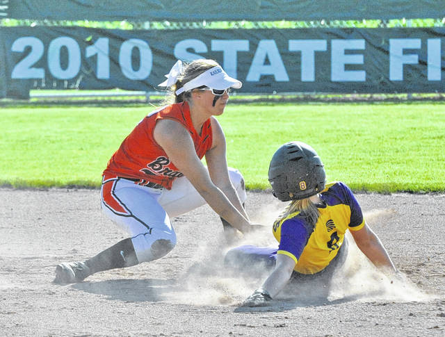 Josh Brown/Troy Daily News file Bradford shortstop Bailey Wysong tags out Mechanicsburg's Mallory Blakeman attempting to steal second base during last week's regional semifinal.