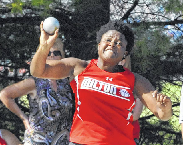Josh Brown/Troy Daily News Milton-Union's Beyonce Bobbitt won a regional title in the shot put at the Division II regional meet Thursday in Piqua.