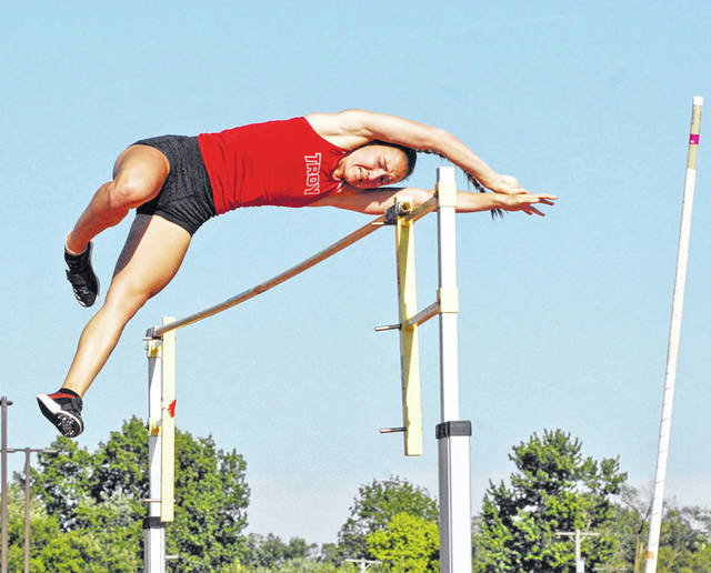 David Fong | Troy Daily News Troy's Christine Moser placed third in the pole vault Friday at the Division I regional track and field meet at Wayne High School, earning a second-straight trip to state.