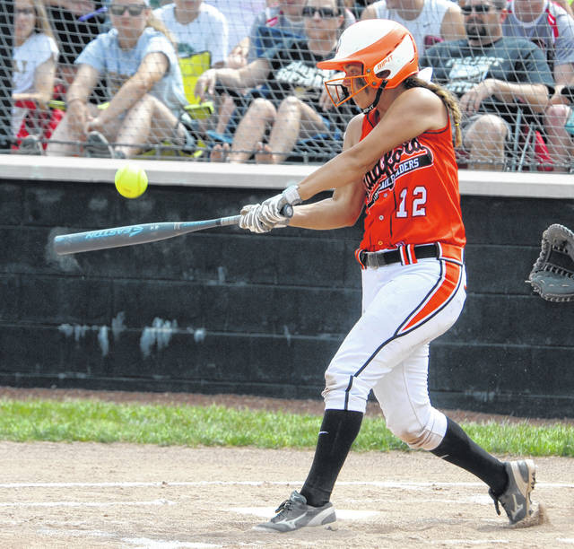 Mike Ullery | Daily Call Bradford's Bailey Wysong connects for one her two hits, one of those a grand slame home run, in Saturday's 12-1 win over Parkway at Lady Wave Softball Stadium.